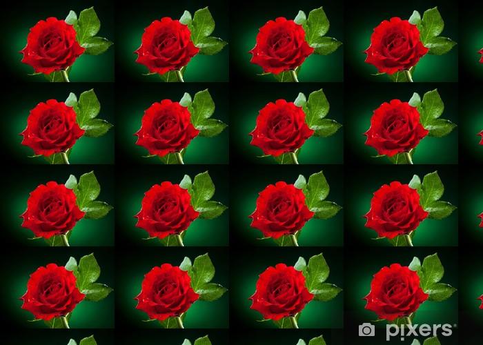 Papier peint vinyle sur mesure Près de rose rouge sur fond vert foncé - Fleurs