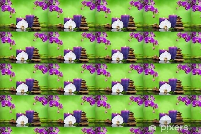 Papier peint vinyle sur mesure Orchidée avec bambou sur ardoise, des bougies et des pierres - Beauté et soins du corps