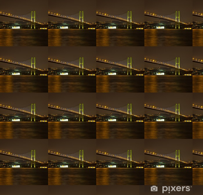 Papier peint vinyle sur mesure Pont du Bosphore à la nuit - Vacances