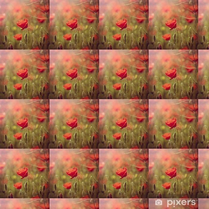 Papier peint vinyle sur mesure Champ de coquelicots rouges - Saisons