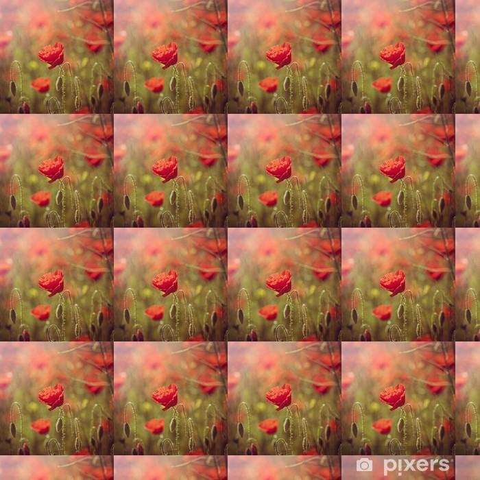 Vinyltapete nach Maß Bereich der roten Mohn - Jahreszeiten
