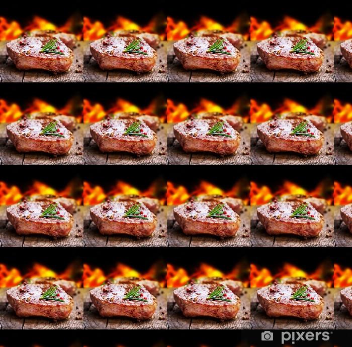 Papier peint vinyle sur mesure Bifteck grillé. Barbecue - Pour restaurant