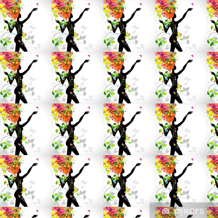 Summer decorative composition with girl Vinyl custom-made wallpaper - Fashion