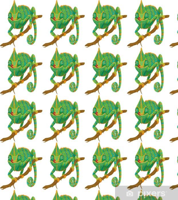 Vinyltapete nach Maß Chameleon Klettern auf einem Zweig isoliert auf weißem Hintergrund - Andere Andere