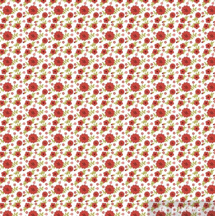 Tapeta na wymiar winylowa Jednolite wzór kobiecy wyposażony ogród z czerwonymi kwiatami - iStaging 2