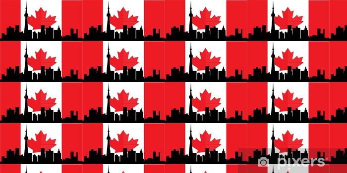 Toronto Skyline With Canadian Flag Wallpaper Vinyl Custom Made