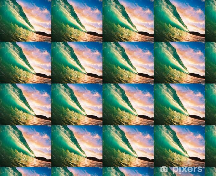 Papier peint vinyle sur mesure Coucher de soleil vague - Hawaii