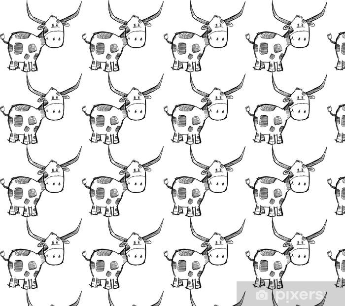 Goofy Sketch Bull Cattle Animal Vector Vinyl custom-made wallpaper - Animal