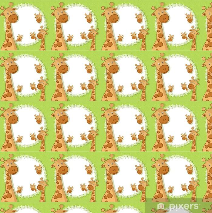 Vinylová tapeta na míru Krásná karta s žiraf s květinami - Savci