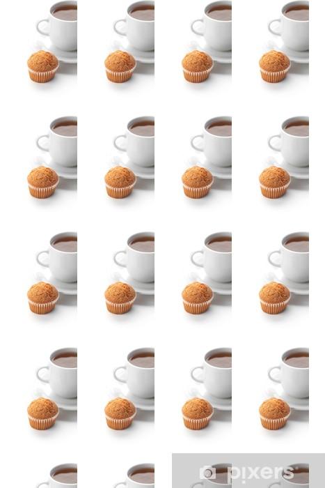 Tapeta na wymiar winylowa Filiżanka herbaty i muffin wyizolowanych na białym - Słodycze i desery