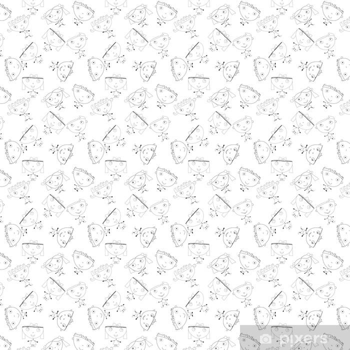 Papier peint vinyle sur mesure Doodle enfants faits à la main seamless pattern - Vacances