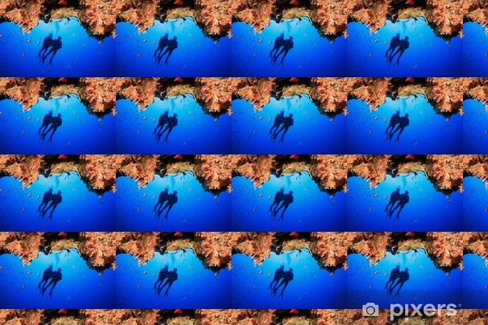 Papier peint vinyle sur mesure Les plongeurs explorent un récif de corail - Sports aquatiques