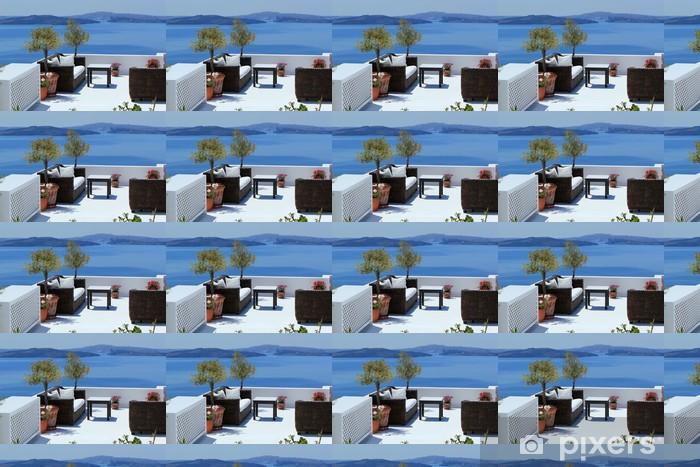 Luxury Balcony At Oia Santorini Greece Wallpaper Vinyl Custom Made
