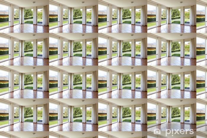Vinylová tapeta na míru Pokoj s podlahou terakota,. okna s výhledem do zahrady - Soukromé budovy
