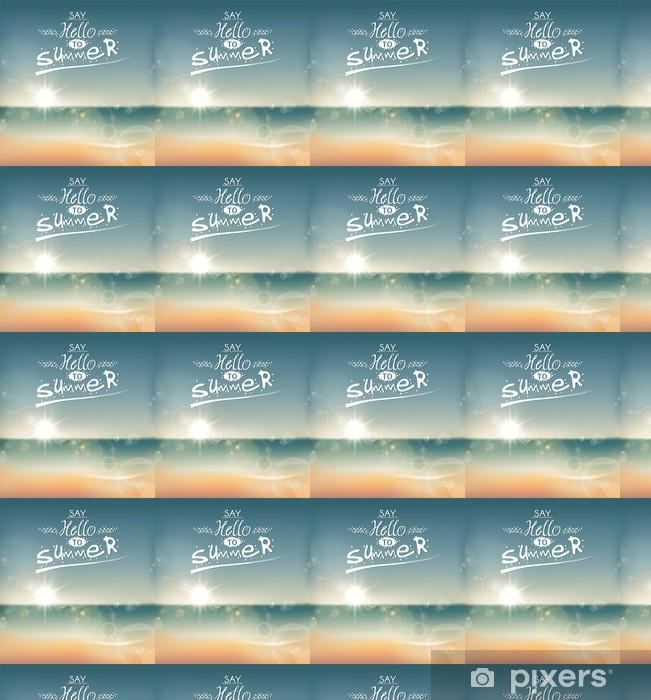 Vinyl behang, op maat gemaakt Say Hello to Summer, creatieve grafische boodschap. - Vakantie