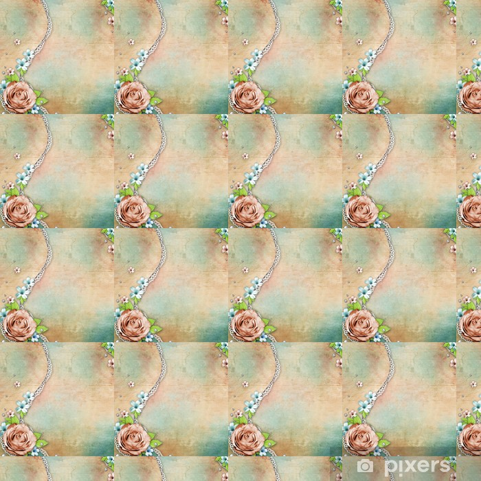 Papier peint vinyle sur mesure Millésime fond texturé avec un bouquet de fleurs, dentelle et - Styles