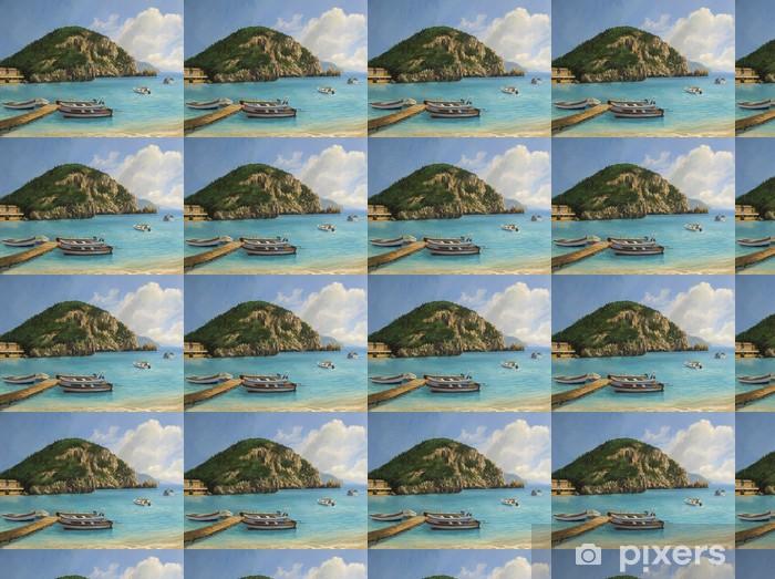 Papier peint vinyle sur mesure Les bateaux de Paleokastritsa - Europe