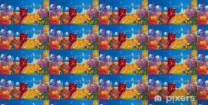 Spesialtilpasset vinyltapet Blekksprut og korall i vann - Vann