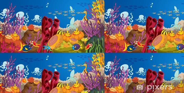 Papier peint à motifs vinyle Pieuvre et le corail dans l'eau - Eau