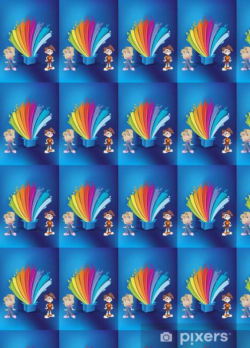 Papier peint vinyle sur mesure Enfants en face de la peinture colorée éclaboussures sur une boîte bleue - Enfants