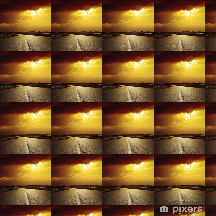 Tapeta na wymiar winylowa Droga asfaltowa do dramatycznego słońca - Przemysł ciężki