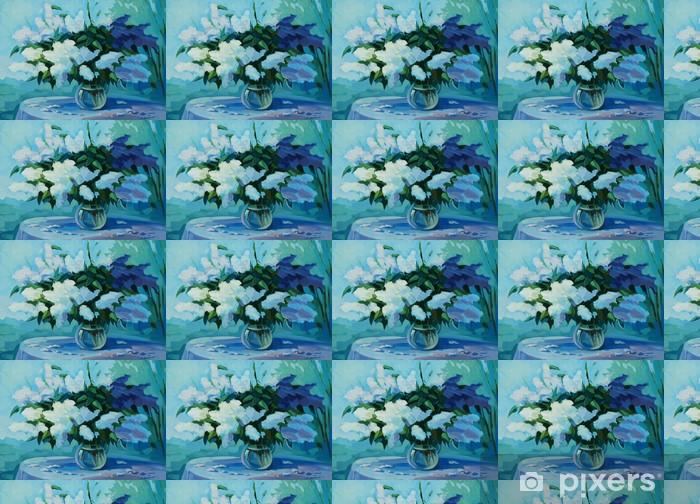 Vinyltapete nach Maß Nass Bouquet von Vogel-Kirsche und lila, Illustration, Malerei - Kunst und Gestaltung