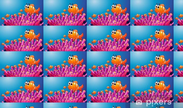 Tapeta na wymiar winylowa Grupa ryb w wodzie niebieski - Woda