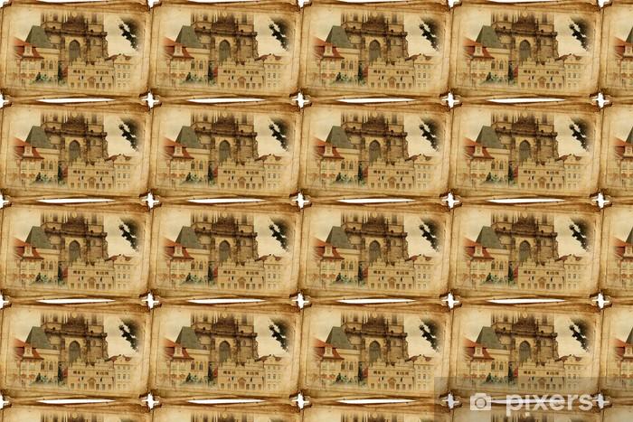Papier peint vinyle sur mesure Rues du Vieux Prague fait dans le style rétro, comme des cartes postales - Villes européennes