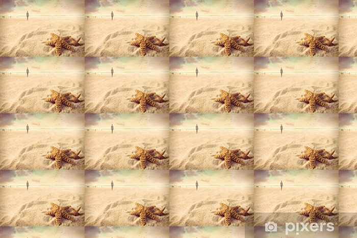 Starfish on the sand at the beach Vinyl custom-made wallpaper - Holidays