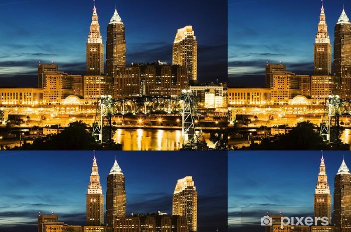 Vinyl Behang Cleveland tijdens blauwe avond - Stedelijk