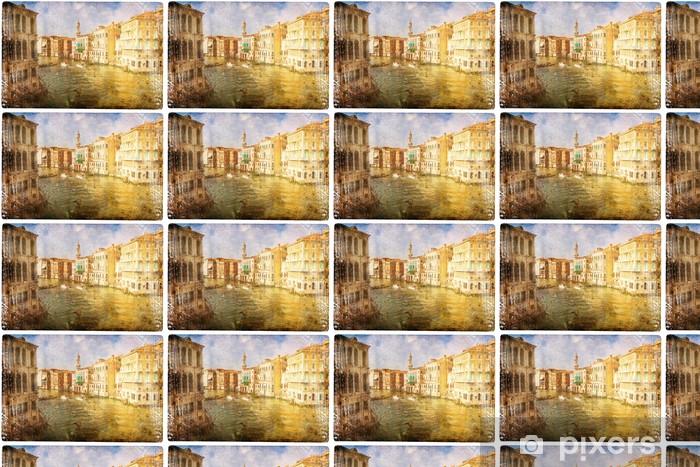 Papier peint vinyle sur mesure Vues de Venise dans un style vintage, comme les cartes postales - Thèmes