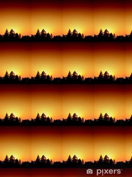Papier peint vinyle sur mesure Coucher de soleil sur la forêt de pins. - Forêt