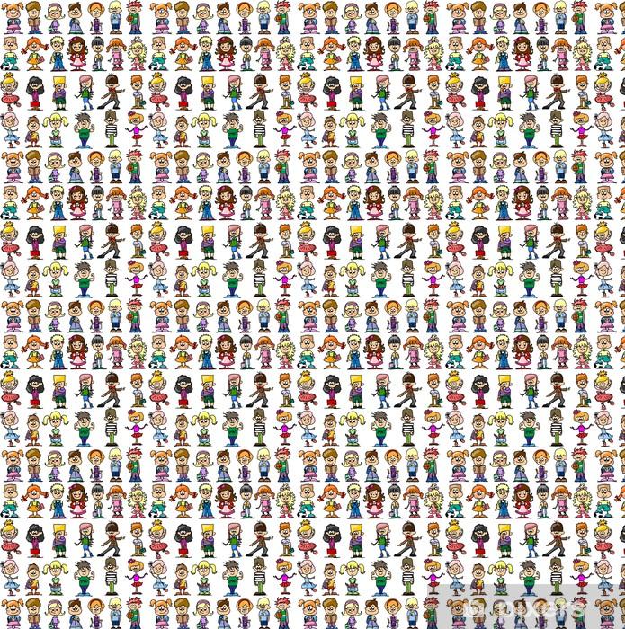 Måttanpassad vinyltapet Смазливая счастливые дети мультфильм - Barn