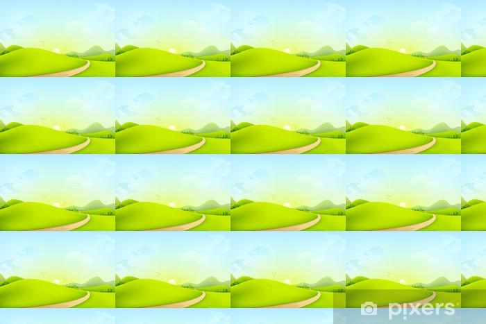Papier peint vinyle sur mesure Vector illustration du paysage verdoyant de matinée ensoleillée - Art et création