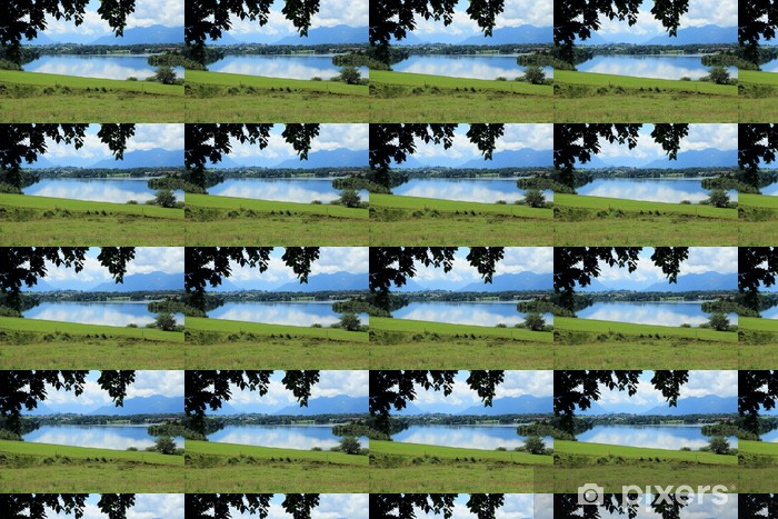 Bergsee mit Wiese Vinyl custom-made wallpaper - Agriculture