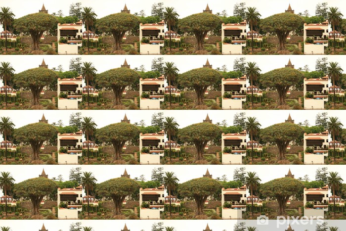 Tapeta na wymiar winylowa Najstarsze drzewo smok i palmy na Teneryfie - Afryka
