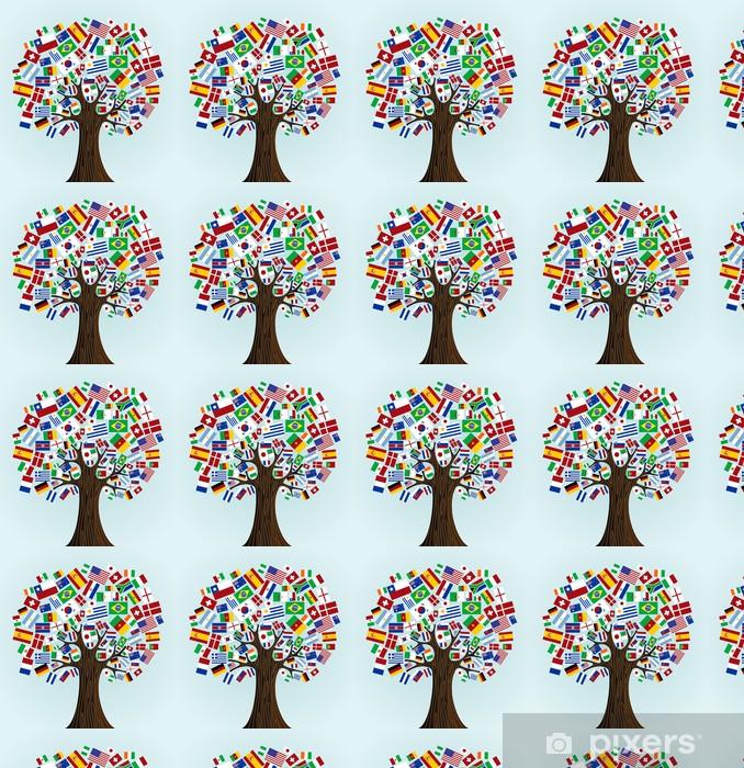 Flags Of The World Tree Wallpaper Vinyl Custom Made