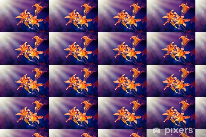 Tapeta na wymiar winylowa Kwiaty lilii na tle purpurowy - Pory roku