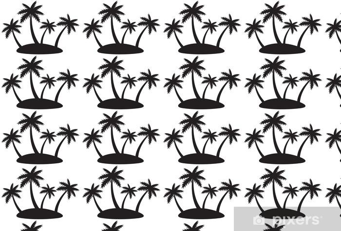 Papier peint vinyle sur mesure Île tropicale avec quatre palmes - Sticker mural