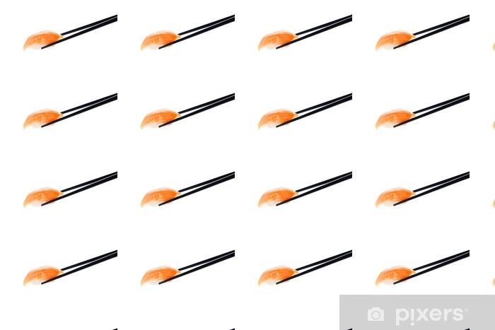 Vinyltapete nach Maß Nigiri Sushi mit Stäbchen, isoliert auf weiß - Fischgerichte/ Meeresfrüchte