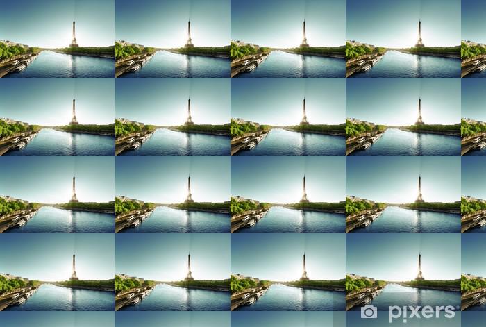 Vinyl behang, op maat gemaakt Seine in Parijs met de Eiffeltoren - Europese steden
