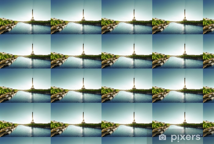 Seine Pariisissa eiffel-tornilla Räätälöity vinyylitapetti - Euroopan Kaupunkeja