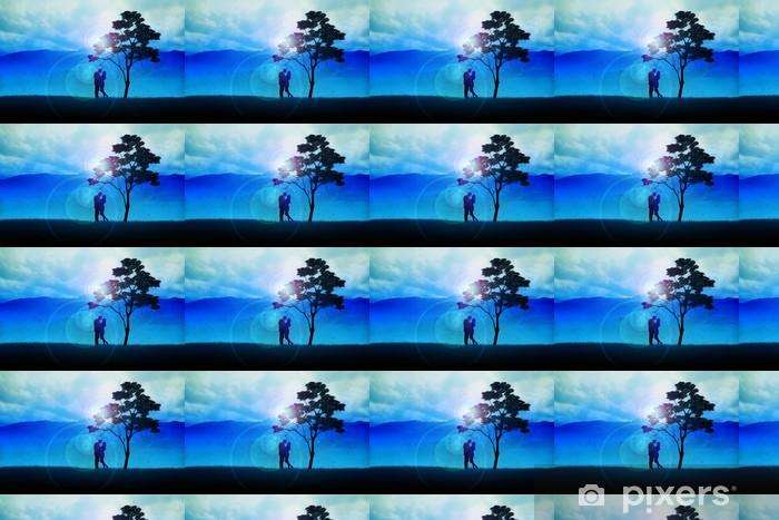 Vinyltapete nach Maß Silhouette Abbildung eines Paare unter dem Baum - Landwirtschaft