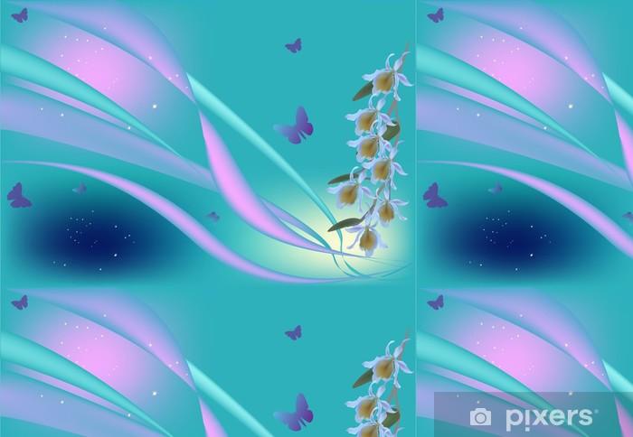 Papier peint à motifs vinyle Orchidées et papillons de couleur lilas sur fond bleu - Fleurs