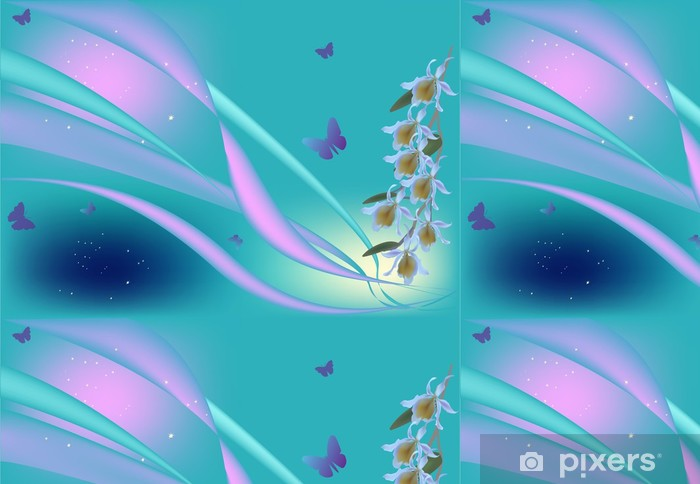 Vinyltapete Lila Farbe Orchideen und Schmetterlinge auf blauem - Blumen