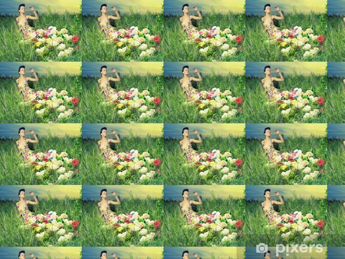 Tapeta na wymiar winylowa Piękna kobieta w sukni z kwiatami - Uroda i pielęgnacja ciała