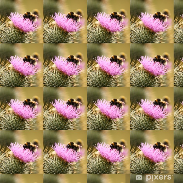 Papel pintado estándar a medida Detalle de un abejorro ocupado del cardo mariano - Otros Otros