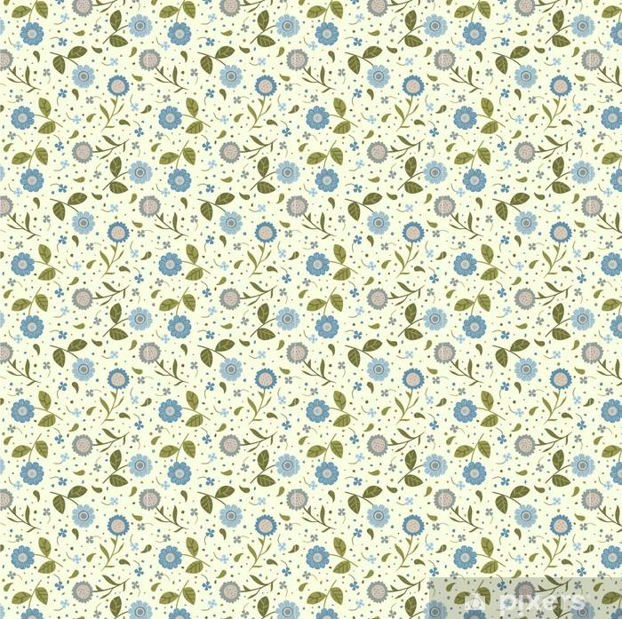 Vinyltapete nach Maß Nahtloser Hintergrund mit niedlichen blauen Blumen - Stile