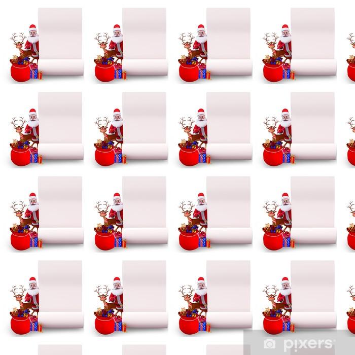 Papier peint vinyle sur mesure Santa et renne avec gros liste de cadeaux - Fêtes internationales