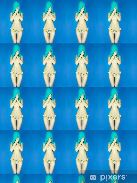 Papier peint vinyle sur mesure Dame en bikini floral - Thèmes